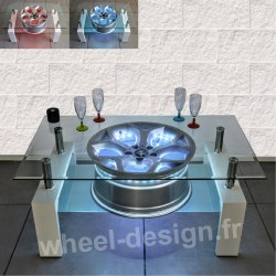 table wheel design pour le salon avec une jante de voiture format rectangle. Black Bedroom Furniture Sets. Home Design Ideas